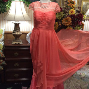 Lace Sheer Chiffon Beauty Queen Pageant Dress Gown
